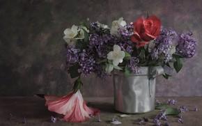 Картинка цветы, роза, букет, сирень, жасмин, гибискус