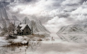 Обои зима, облака, горы, домик, небо