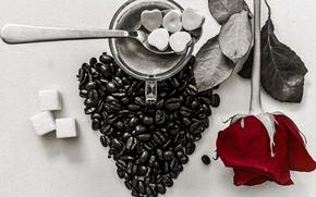 Картинка сердце, роза, кофе, зерна, чашка, сахар, натюрморт, День Святого Валентина
