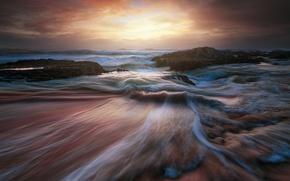 Обои море, волны, небо, облака, свет, океан, скалы, выдержка