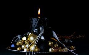 Картинка украшения, свеча, чёрный фон