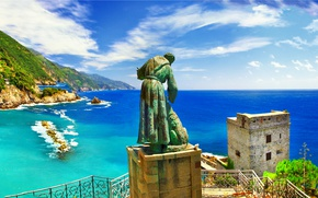 Обои море, скалы, берег, Италия, landscape, Italy, travel, Monterosso al Mare, Liguria
