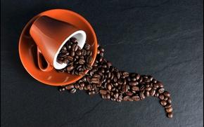 Картинка кофе, чашка, кофейные зерна, блюдце, coffee
