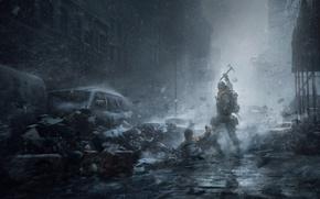 Картинка Зима, Игры, Снег, Здание, Солдаты, Оружие, Ubisoft, Game, Tom Clancy's The Division, TheVideoGamegallery.com