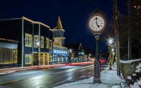 Картинка зима, огни, праздник, улица, городок