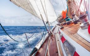 Обои yacht, tourism, ship, курс полный ход, ветер путевой, брызги, море, волны, summer, горизонт, sky, облака, ...