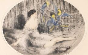 Картинка Попугаи, 1925, Louis Icart, арт-деко, офорт и акватинта