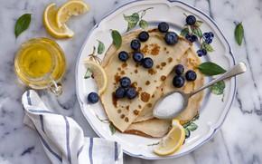 Картинка ягоды, еда, черника, блины, Anna Verdina, дольки лимона