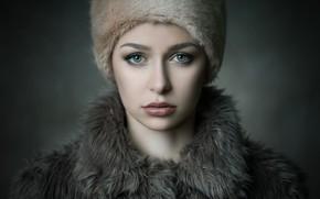 Картинка портрет, макияж, мех, ретушь, Michael Schnabl, Theresa Steinkellner
