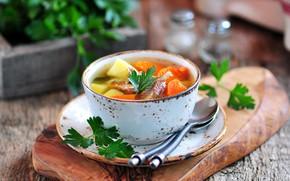 Картинка суп, миска, овощи, петрушка