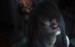 Картинка девушка, мрак, волосы, боке