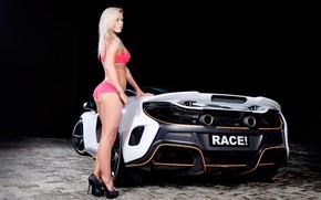 Картинка авто, взгляд, McLaren, тату, блондинка, браслет, Эротика, красивая девушка