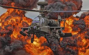 Картинка огонь, вертолет, лопасти, Apache, AH-64D