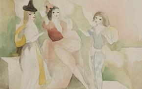 Картинка бумага, акварель, карандаш, Модерн, Marie Laurencin, Две подруги с молодым пажем на террасе, королева Монпарнаса