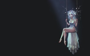 Картинка фея, девушка, арт, фЭнтези, качели, Pauline Voß, Moonlight Fairy