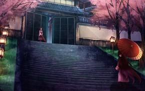 Картинка зонтик, девушки, аниме, ступени, Kantai Collection, Флотская коллекция