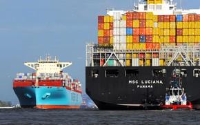 Обои Maersk Essex, Борт, Line, MSC Luciana, Грузовой, Essex, Судно, Два, Контейнеровоз, Luciana, Контейнера, Maersk, MSC, ...