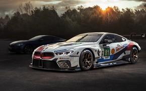 Обои BMW M8, закат, 2018, гоночное авто, автоспорт, GTE