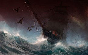 Картинка dark, fantasy, storm, rain, sea, art, painting, ship, digital art, artwork, bats, sail, Sailboat, stormy …