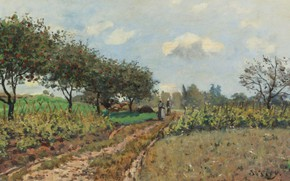 Картинка деревья, пейзаж, картина, Alfred Sisley, Альфред Сислей, Дорога в Кампань
