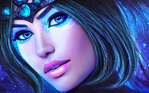 Картинка взгляд, девушка, лицо, красота, маг, art, Guild Wars
