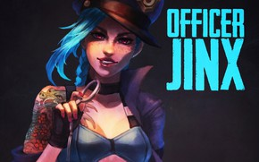 Картинка девушка, арт, lol, league of legends, jinx, Officer, the loose cannon