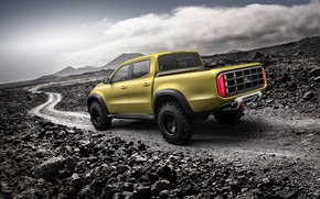Картинка дорога, небо, горы, камни, жёлтый, Mercedes-Benz, пикап, X-Class Concept