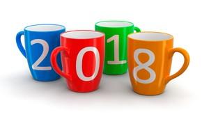 Картинка оранжевый, синий, красный, праздник, Рождество, цифры, белый фон, Новый год, зелёный, кружки, разноцветные, 2018, четыре