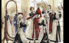 Картинка зеркало, прическа, корсет, trinity blood, униформа, art, прислуга, одевание, горничные, кровь триединства, shibamoto thores, caterina …