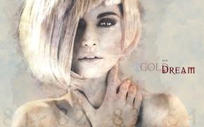 Картинка девушка, стрижка, арт, блондинка