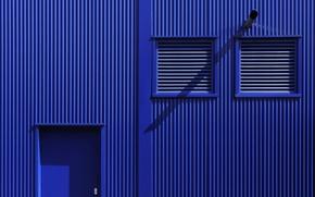 Картинка стена, дверь, жалюзи, Bleu