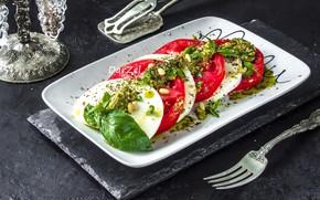 Картинка помидор, салат, базилик, капрезе, моцарелла
