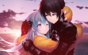 Обои манга, романтика, парень, девушка, пара, Tokyo Necro, двое