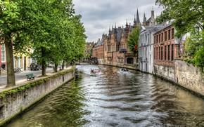 Картинка мост, дома, канал, Бельгия, Брюгге