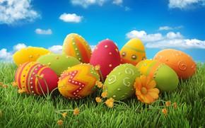 Картинка праздник, яйца, пасха, травка