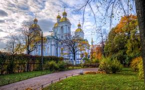 Картинка осень, небо, трава, листья, облака, деревья, парк, Санкт-Петербург, церковь, храм, Россия, аллея, кусты, Cathedral of …