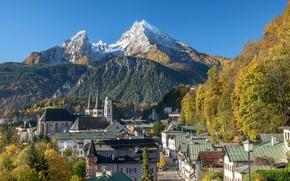 Обои пейзаж, осень, Бавария, улица, Германия, дома, церковь, горы, Берхтесгаден
