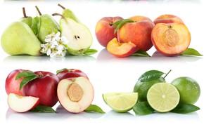 Картинка лайм, цитрус, фрукты, груши, персик, нектарин