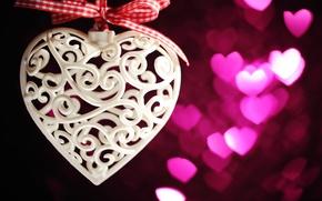 Обои romantic, gift, bokeh, hearts, love, сердцечки, valentine's day