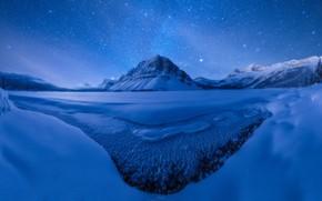 Картинка зима, звезды, снег, горы, ночь, лёд, рзеро