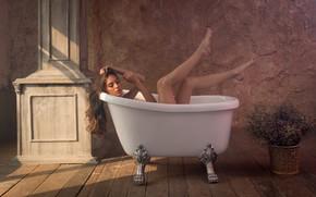 Картинка девушка, фон, ванна