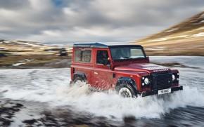 Обои небо, облака, красный, река, холмы, поток, внедорожник, Land Rover, 2018, Defender Works V8, юбилейная спецсерия, ...