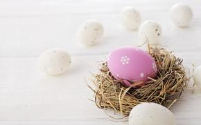 Картинка Пасха, яйца крашенные, wood, spring, Easter, eggs, decoration, Happy
