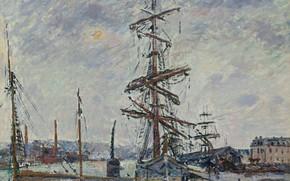 Картинка корабль, картина, мачта, Гюстав Луазо, Gustave Loiseau, Суда в Порту