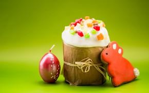 Картинка пасха, кулич, печенье, свеча, Праздник
