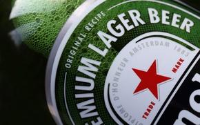 Картинка макро, звезда, бутылка, пиво, этикетка, Heineken