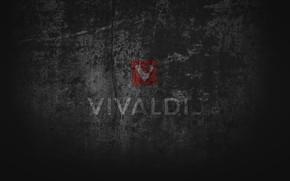 Картинка black, grey, grunge, browser, computer art, Vivaldi browser, Vivaldi