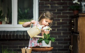 Картинка цветы, дом, девочка