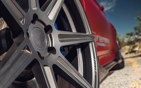 Картинка дорога, авто, макро, красный, диск, BMW M4