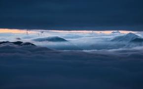 Картинка небо, горы, туман, облaка